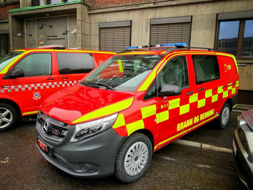 Gammel og ny profilering: Slik skal de nye brannbilene se ut. De kan også være gule i grunnfargen (foto: Synnøve Haram).