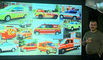 Dag Botnen med et lite utvalg av dagens brannbiler (foto: Synnøve Haram).