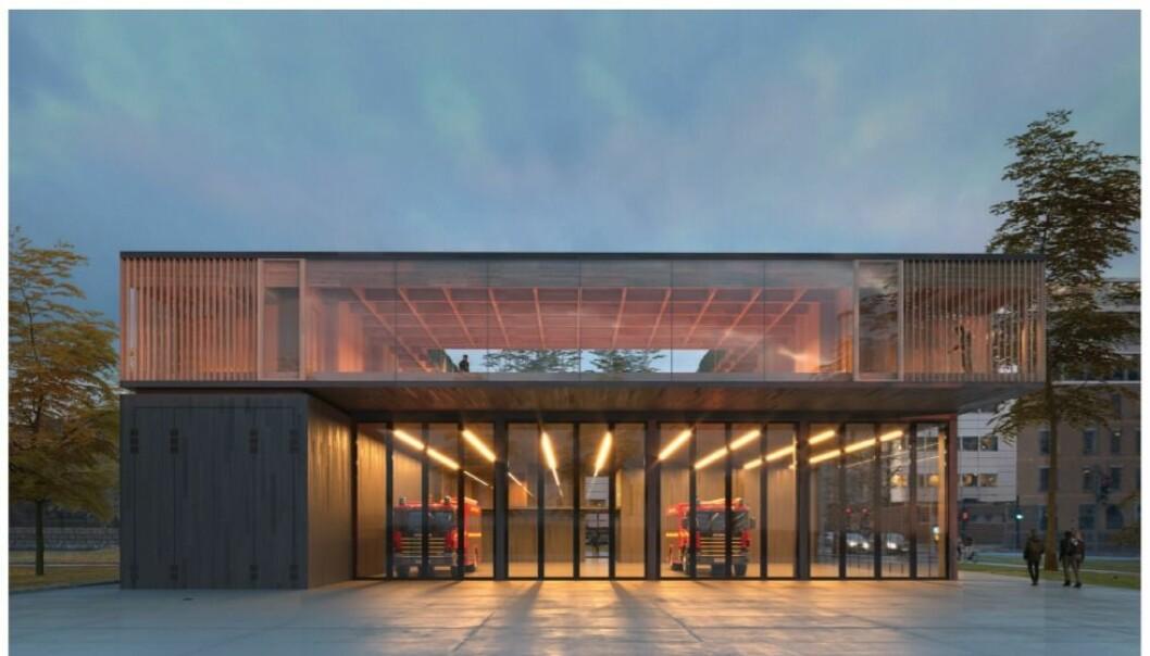 Slik blir Sentrum brannstasjon seende ut (Illustrasjon: Gottlieb Paludan Architects).