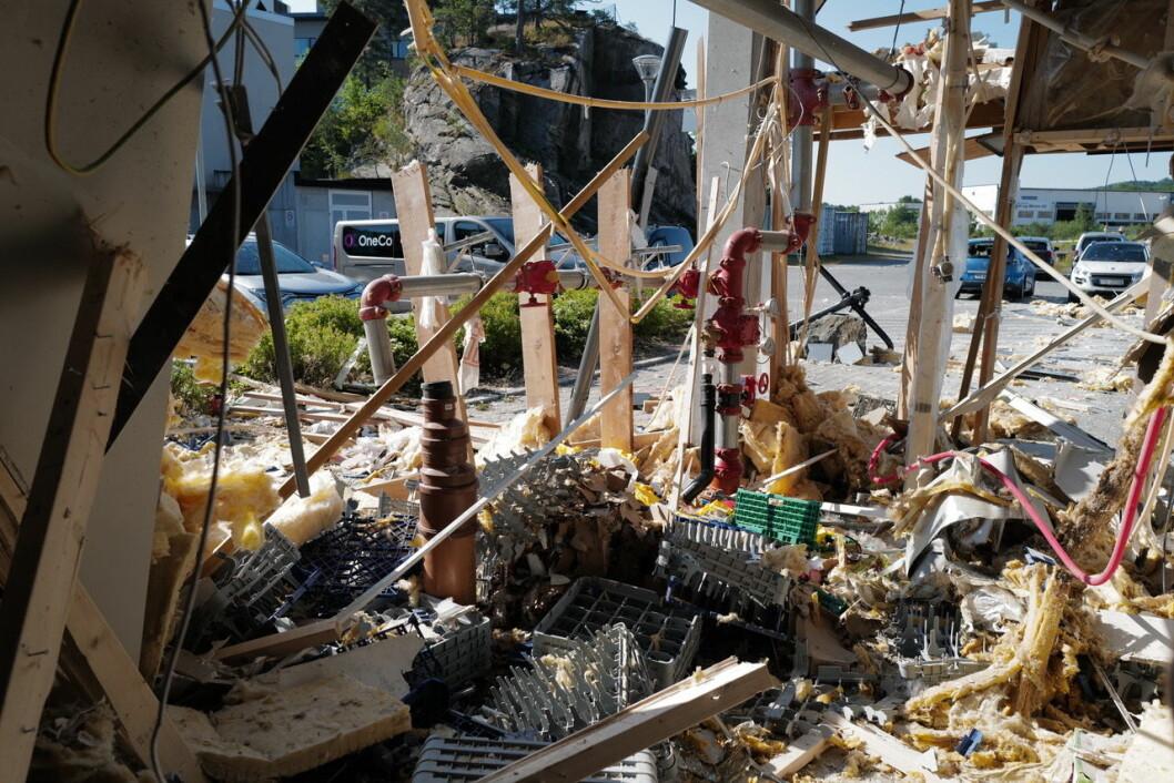 Eksplosjonen forårsaket alvorlig personskade og store skader på bygget (foto: Svein Erik Halvorsen).