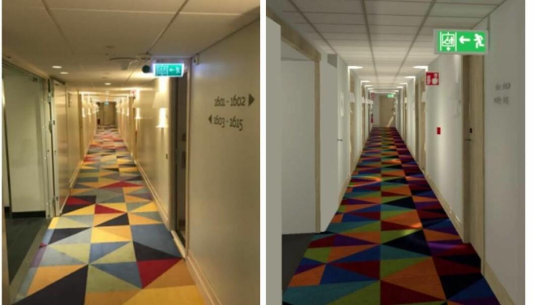 Hotellkorridoren i virkeligheten til venstre, og i VR-format til høyre.