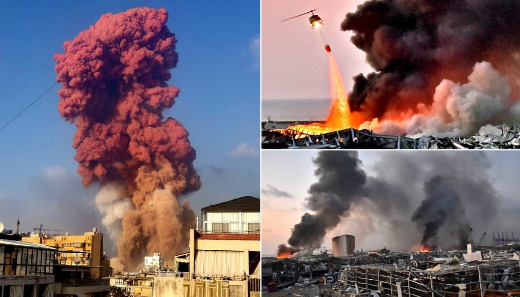 Harbour explosion in Beirut.