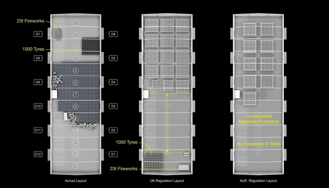 The above image is a comparison of the layout of the elements stored inside warehouse 12 at Beirut Port, and how they are required to be laid out according to British and Australian standards.