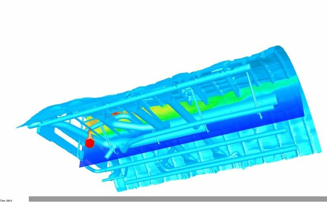 NIST-forskere brukte Fire Dynamics Simulator (FDS) for å modellere temperaturene på røyken som beveget seg gjennom passasjerflyets overliggende rom. En 3D-gjengivelse av FDS-utgang viser røyk som stiger fra en gassbrenner plassert foran i flyet. Fargene indikerer temperaturer fra varm (rød) til kald (blå).
