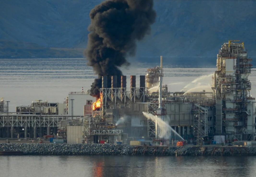 Brann i produksjonsanleggene på Melkøya utenfor Hammerfest den 28. september 2020.