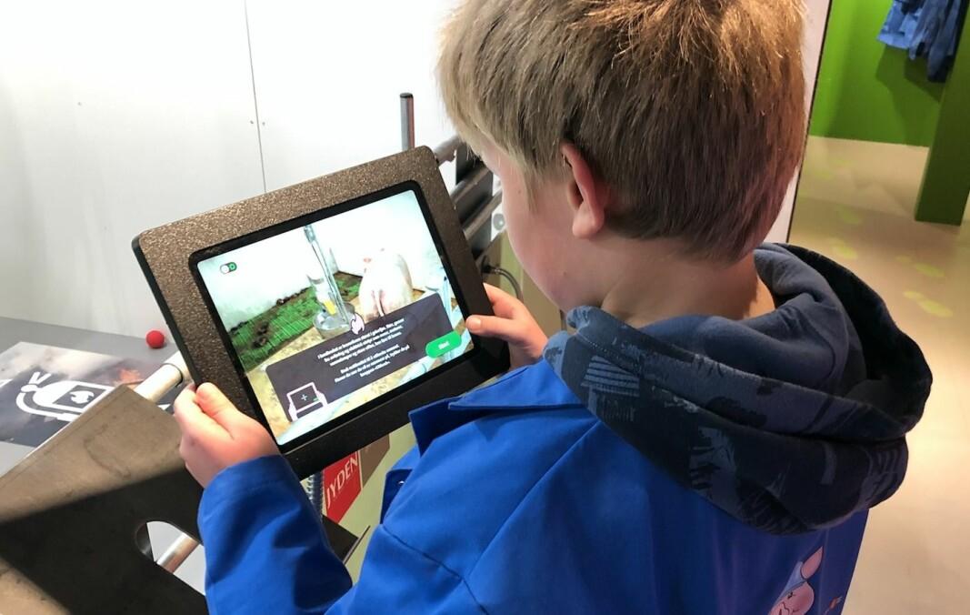 Skoleelev som ser til grisene i fjøset ved hjelp av AR-teknologi på Ipaden. Skal tidlig krøkes for god grisebonde å bli!
