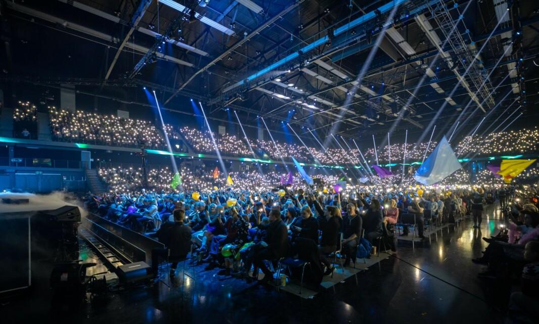Lys- og røykshow fra Melodi Grand Prix 2020.