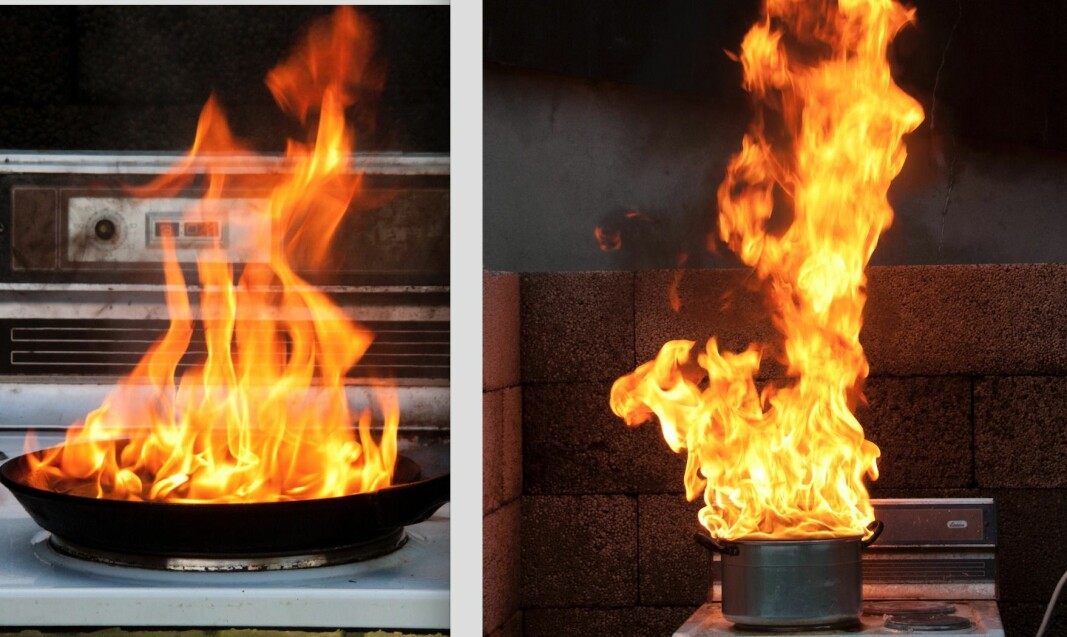 Fra venstre: her har bacon og smør i stekepanne, og smør og sukker i kjele tatt fyr.