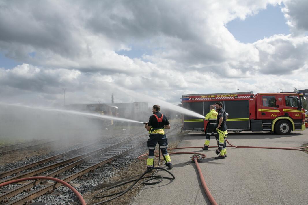 Fra Oslo brann- og redningsetat sin øvelse med brann- og redningstoget i august.
